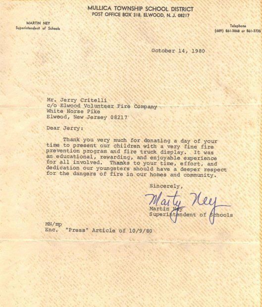 Thank you Letter from Mullica Twp School 1980