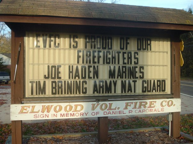 Elwood Firefighters sign