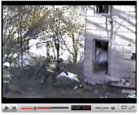 This clip is from www.firefighterclosecalls.com and it features an explosion during a control demoliton by an Amsterdam Fire Department.  Firefighters' conditions:  One of the injured firefighters remained hospitalized Monday evening at Albany Medical Center, said hospital spokesman Greg McGarry. Firefighter Thomas Champain suffered a right leg fracture and was listed in fair condition, McGarry said.  Another firefighter, Jarod Gilston, was admitted to Albany Medical Center in good condition but has since been released.  The other firefighters injured in the explosion were treated and released Saturday from St. Mary's Hospital in Amsterdam, NY, said a hospital spokeswoman.